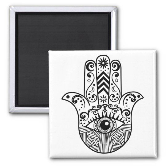 Hamsa Hand Black and White Magnet