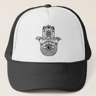 Hamsa Hand Black and White Trucker Hat