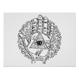 Hamsa Hand Evil Eye Adult Coloring Poster