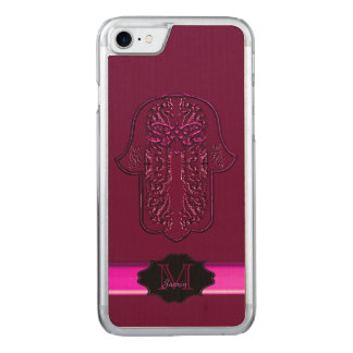 Hamsa Hand feat: Heart (Pink) Carved iPhone 7 Case