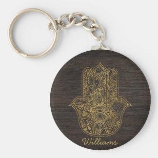 HAMSA Hand of Fatima symbol amulet design Basic Round Button Key Ring