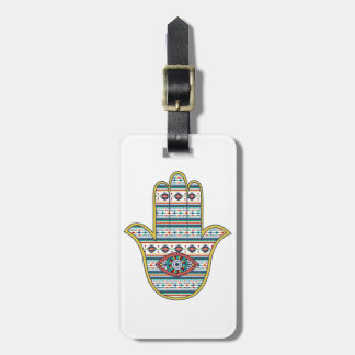 HAMSA Hand of Fatima symbol amulet, tribal Aztec Luggage Tag