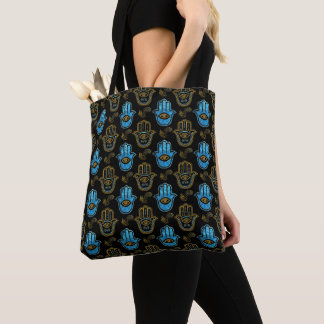Hamsa Hand pattern - Gold and Blue glass Tote Bag