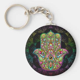 "Hamsa Hand Psychedelic 2.25"" Basic Button Keychain"