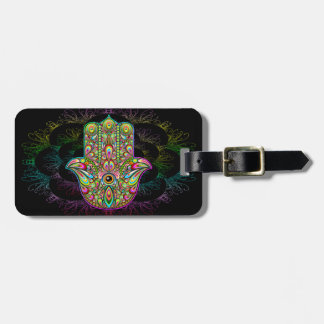 Hamsa Hand Psychedelic Luggage Tag w/leather strap