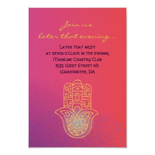HAMSA HAND Red Orange Bat Mitzvah Party Card