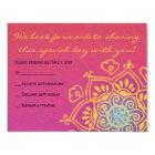 HAMSA HAND Red Orange Bat Mitzvah Reply Card