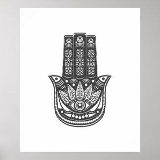 Hamsa hand spiritual geometric evil eye meditation poster