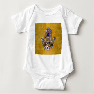 Hamsa Hearts Flowers Opal Art on Gold Baby Bodysuit