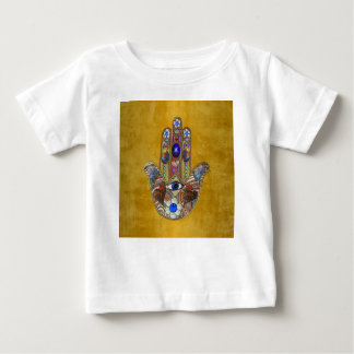 Hamsa Hearts Flowers Opal Art on Gold Baby T-Shirt