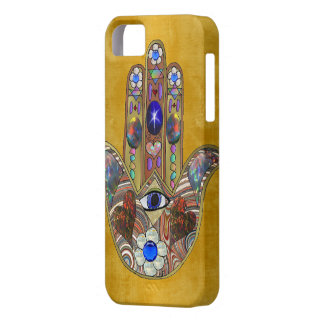 Hamsa Hearts Flowers Opal Art on Gold Case For The iPhone 5
