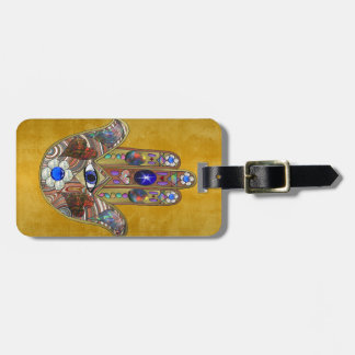 Hamsa Hearts Flowers Opal Art on Gold Luggage Tag