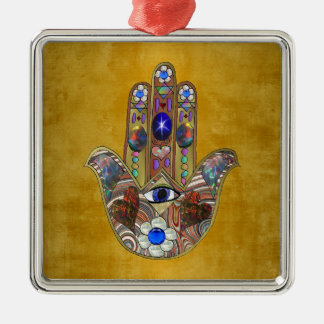 Hamsa Hearts Flowers Opal Art on Gold Metal Ornament