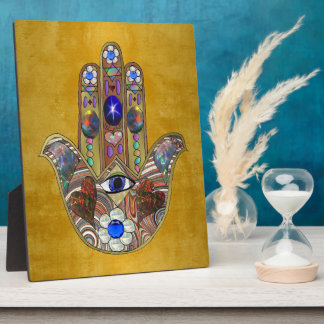 Hamsa Hearts Flowers Opal Art on Gold Plaque