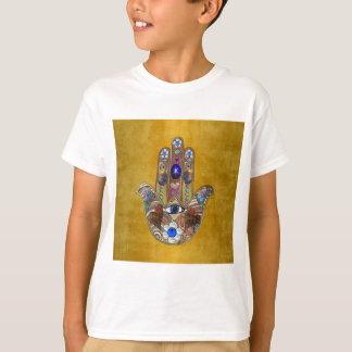 Hamsa Hearts Flowers Opal Art on Gold T-Shirt