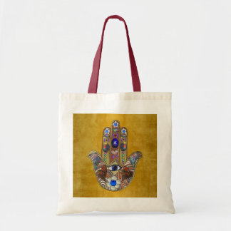 Hamsa Hearts Flowers Opal Art on Gold Tote Bag