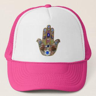 Hamsa Hearts Flowers Opal Art on Gold Trucker Hat