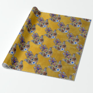 Hamsa Hearts Flowers Opal Art on Gold Wrapping Paper