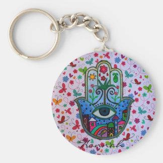 Hamsa Judaica Tree of Life Basic Round Button Key Ring