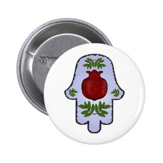 Hamsa, Pomegranate, Light Blue, Stained Glass Zazz 6 Cm Round Badge