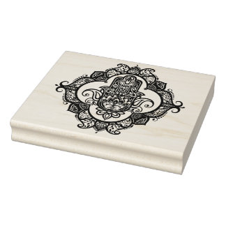 Hamsa With Ethnic Ornaments Doodle Rubber Stamp