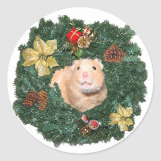 Hamster and Christmas wreath Sticker