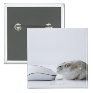 Hamster and Computer mouse 15 Cm Square Badge