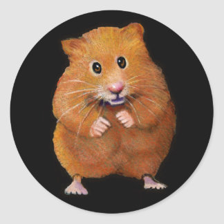 HAMSTER: ART ON BLACK: COLOR PENCIL CLASSIC ROUND STICKER