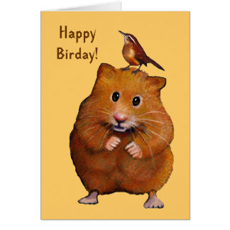 Hamster & Bird: Happy Bird Day, Birthday Card