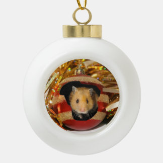 Hamster Christmas Ceramic Ball Decoration