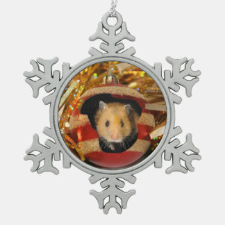 Hamster Christmas Pewter Snowflake Decoration