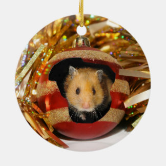 Hamster Christmas Round Ceramic Decoration