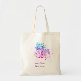 Hamster Design - Colorful Line Art - Custom Words Tote Bag