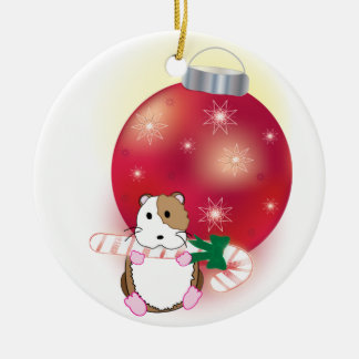 Hamster Holidays Round Ceramic Decoration