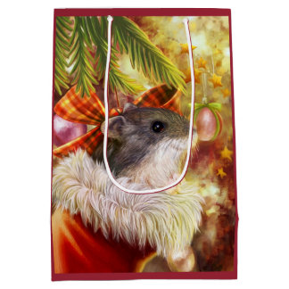 Hamster in a Christmas sock realistic painting Medium Gift Bag