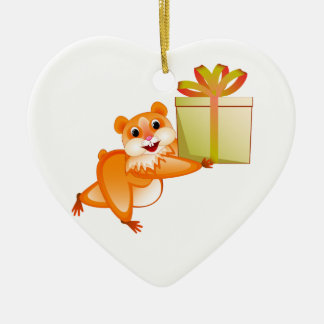 Hamster keeps the gift ceramic heart decoration