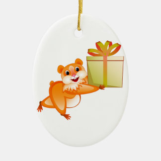 Hamster keeps the gift ceramic oval decoration
