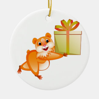 Hamster keeps the gift round ceramic decoration