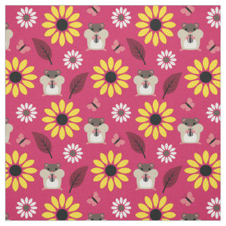 Hamster & Sunflower Seamless Pattern Fabric