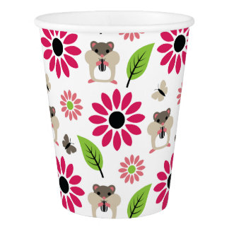 Hamster & Sunflower Seamless Pattern Paper Cup
