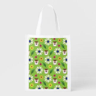 Hamster & Sunflower Seamless Pattern Reusable Grocery Bag