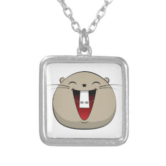 Hamster with braces silver plated necklace