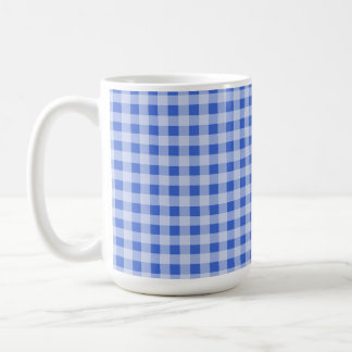 Han Blue Gingham; Checkered Coffee Mugs