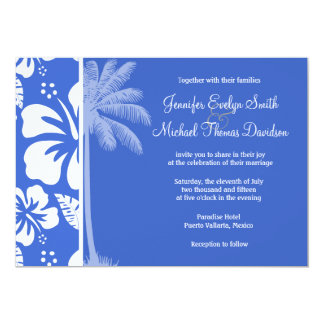 Han Blue Hawaiian Tropical Hibiscus; Palm Personalized Invite