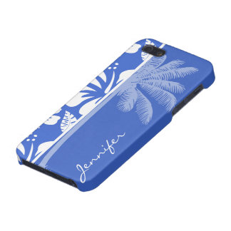 Han Blue Hawaiian Tropical Hibiscus; Palm Case For iPhone 5