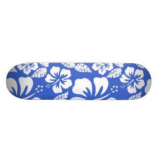 Han Blue Hawaiian Tropical Hibiscus Skate Boards