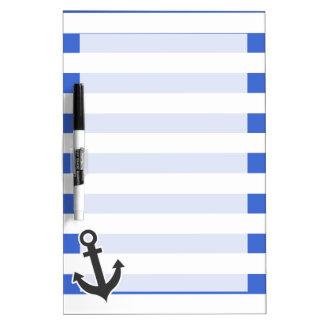 Han Blue Horizontal Stripes; Nautical Anchor Dry-Erase Whiteboards