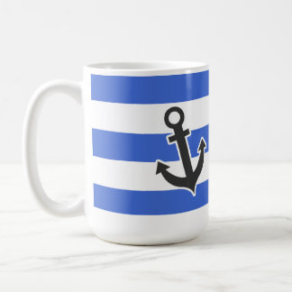 Han Blue Horizontal Stripes; Nautical Anchor Mugs