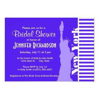 Han Purple Horizontal Stripes; New York City 13 Cm X 18 Cm Invitation Card