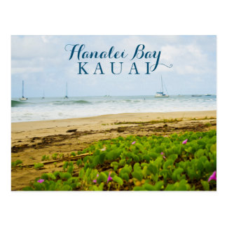 Hanalei Bay Kauai Hawaii Beach & Boats Postcard